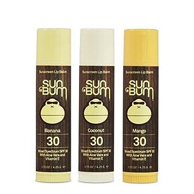 Sun Bum SPF30 Lip Balm Banana, Coconut, Mango 3 Pack by Sun Bum