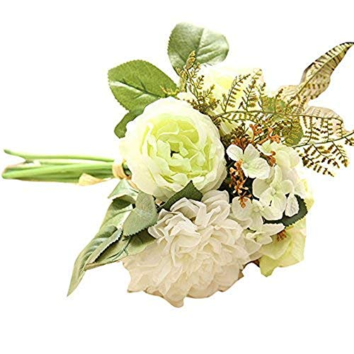 nikunLONG Vintage Peony Artificial Flowers Calla Lily Flower Bouquets Artificial Peony Silk Bouquets Green