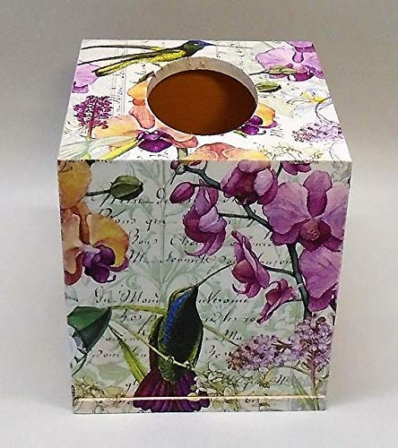 Hummingbirds Handmade Decoupage Wood Tissue Box Cover Orchids