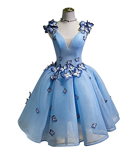 Drasawee Juniors Short Butterfly Embellished Homecoming Dress Tulle Ball Party Dress Blue US6 (Dress Embellished Butterfly)
