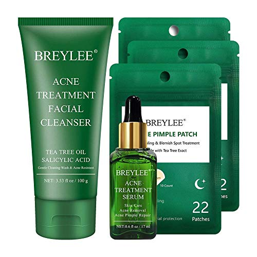 Acne Treatment Seurm plus Acne Face Wash plus Pimple patches, BREYLEE Tea Tree Clear Skin Serum for Breakout, Acne Dots for Absorbing Cystic Acne, Acne Treatment Facial Cleanser for Oil control