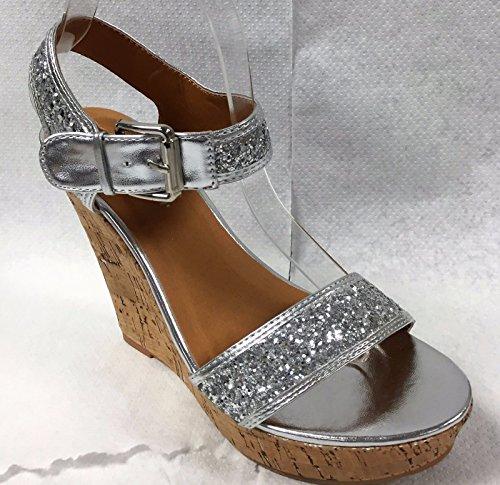 Sempre Successo15 Mary Jane Fibbia Glitter Open Toe Sughero Zeppa Piattaforma Sandalo Scarpa Argento Argento