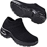 HKR Womens Walking Tennis Shoes Slip On Light Weight Mesh Platform Nursing Shoes Air Cushion Sneakers All Black 7.5(ZJW1839quanhei39)