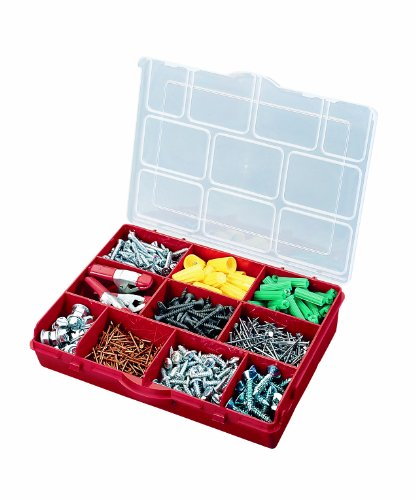 Stack-On SBR-10 10 Compartment Storage Organizer Box with Removable Dividers, Red