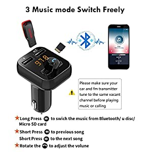 Bluetooth FM Transmitter Wireless Digital Radio In-car Transmitter Receiver Car Adapter MP3 Player Supports TF/SD Card and Dual USB Car Charge Hands-free Calling for iPhone Samsung etc