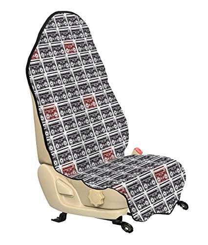 Lunarable 90s Car Seat Cover, Old-School Tape Recorders Speakers Classic Urban Lifestyle Musical Celebration, Car Truck Seat Cover Protector Nonslip Backing Universal Fit, Black White Ruby