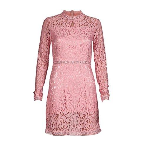 タイムリーな郵便印象的Karchi レディーズ ワンピースファッションセクシーな夏 ピンクレース パーティードレスイブニングドレス 結婚式 パーティ に 大人 レディース ファッション