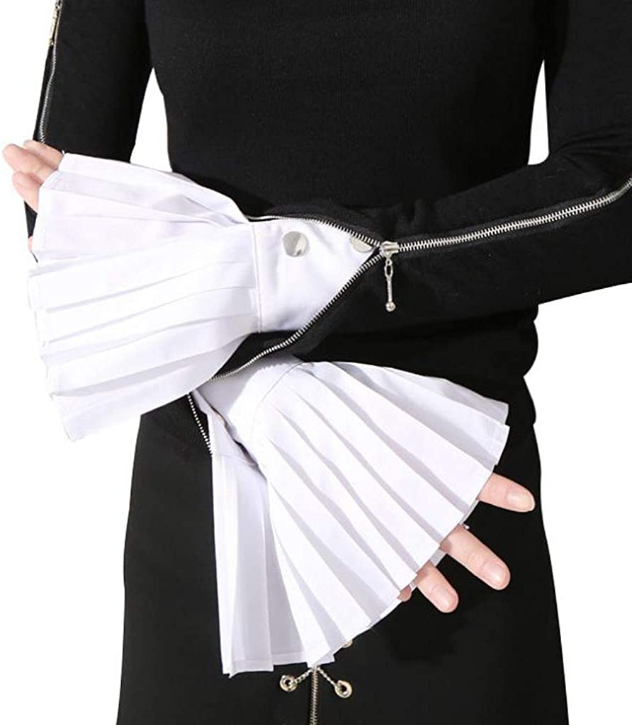 Hijing Festival Gift,1 Pair Detachable Shirt Pleated Horn Flare Sleeve Cuffs Over Sleeve Wristband