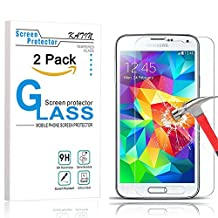 Galaxy S5 Screen Protector - KATIN [2-Pack] Samsung Galaxy S5 , 9H Premium Tempered Glass , 3D Touch Compatible 2.5D Round Edge with Lifetime Replacement Warranty