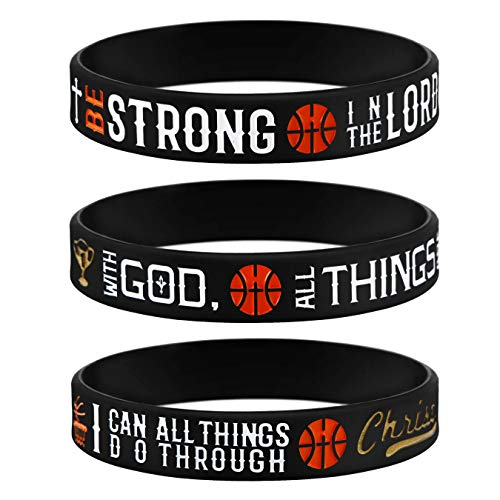 (Sainstone Power of Faith Basketball Bible Verse Silicone Wristbands with Christian Inspirational Sayings, Set 3 of Scriptures Motivational Rubber Bracelets Sports (Black Gold) )