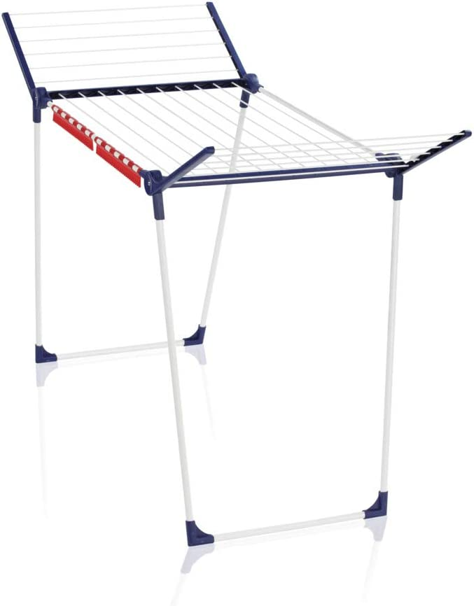 Leifheit Pegasus 180 Solid Standing Clothes Airer, Foldable Clothes Rack for Outdoor & Indoor, 18 m Clothes Horse with 2 Holders for small items, Leifheit Airer