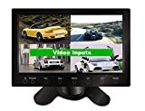GOWE 7'' Screen with Splitters 4 Way Video Inputs for Four Cameras Touch Buttons Car Security System Stand Alone Monitor Car Monitor