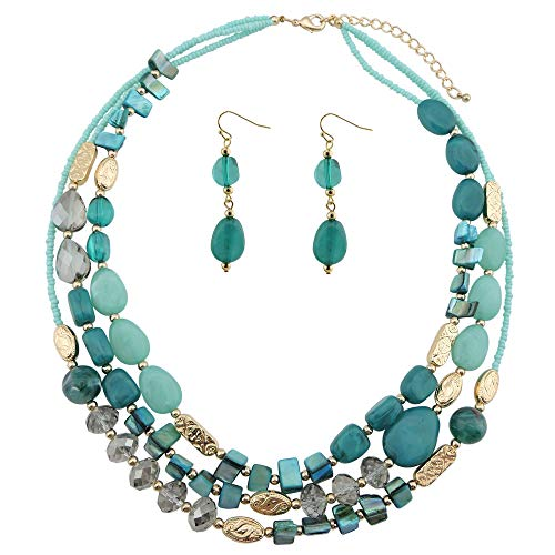COIRIS Multi Layer Shell Beaded Statement Necklace for Women Jewelry (N0001-Teal)]()