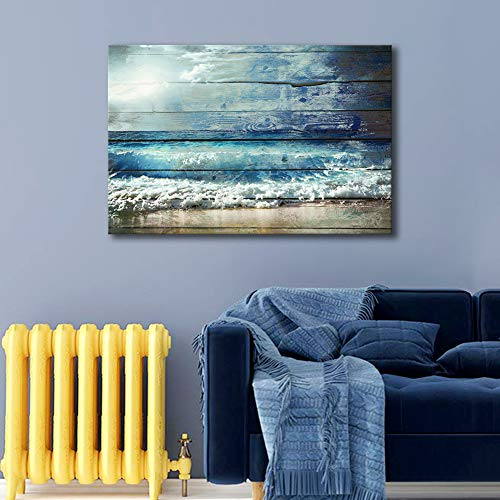 ARTLAND Giclee Canvas Prints Landscape Wall Art 'Ocean Wave 1 ' 1-Piece Framed Painting for Bedroom 24x36-inch 1' Framed Art Print