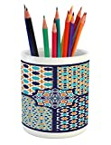 Ambesonne Arabian Pencil Pen Holder, Different Islamic Ornate Mosaic Patterns Historical Lines Heritage Culture, Printed Ceramic Pencil Pen Holder for Desk Office Accessory, Blue Orange White