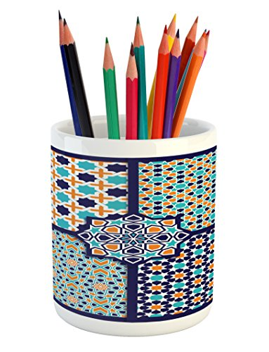 Ambesonne Arabian Pencil Pen Holder, Different Islamic Ornate Mosaic Patterns Historical Lines Heritage Culture, Printed Ceramic Pencil Pen Holder for Desk Office Accessory, Blue Orange White by Ambesonne
