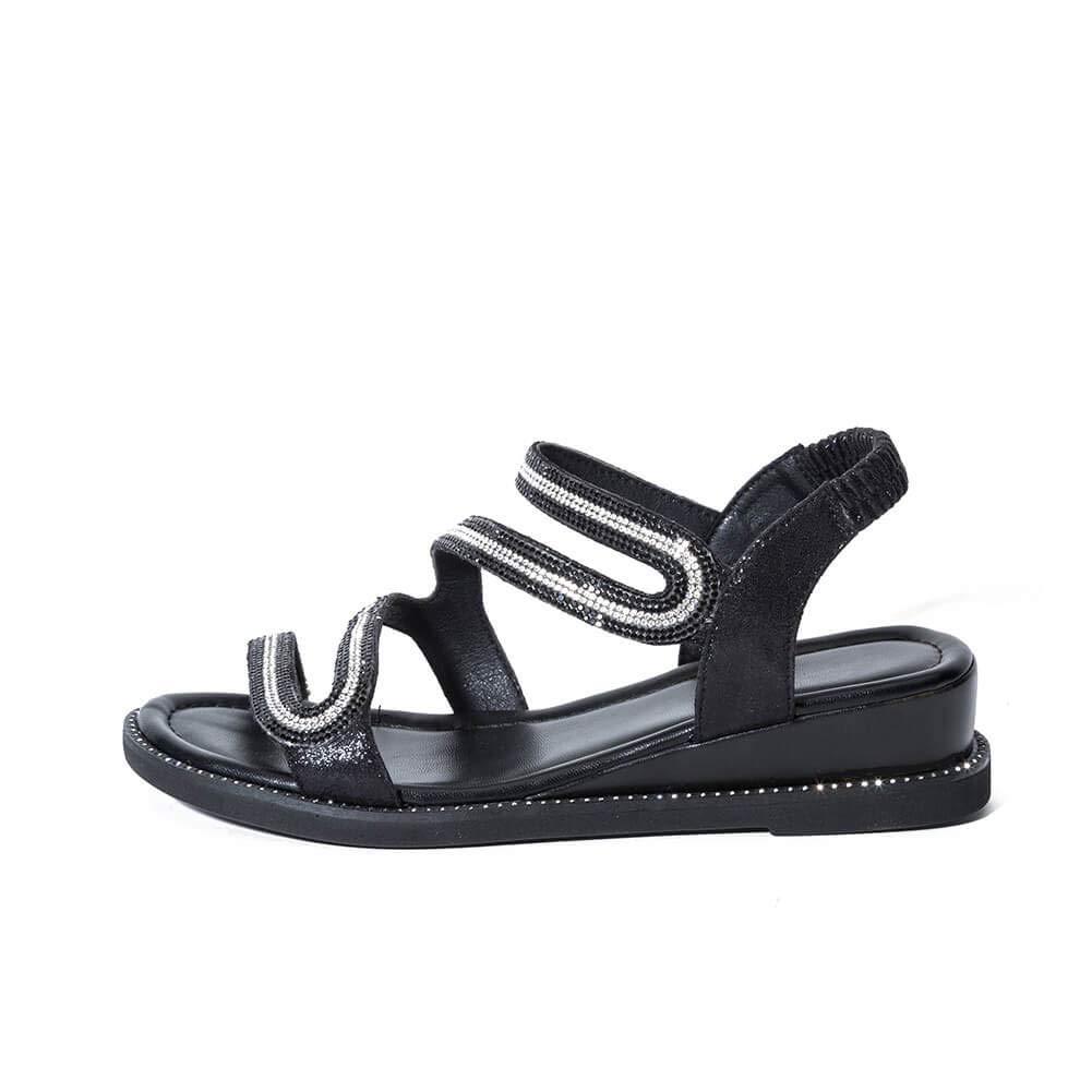 Yolanda Zula Women's Elastic Heel Rhinestones Flat Sandals Black Wedge Summer Shoes (7)