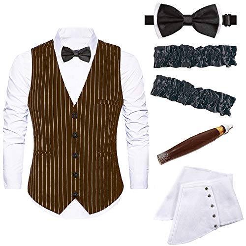 Mens 1920s Accessories Gangster Stripe Vest Set - Gangster Spats,Armbands,Pre Tied Bow Tie,Toy Fake Cigar (Small, Brown)]()