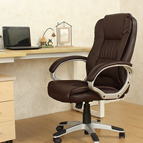 YAMASORO Ergonomic Tall Leather Executive Office Chair High-Back Computer Gaming Desk Back Support Brown - Basic Computer Table