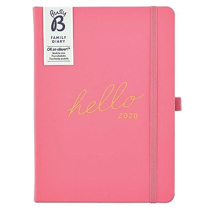 Agenda familiar 2020 Busy B - agenda semanal A5 rosa con espacio para 5 horarios y notas para arrancar