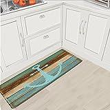 Fashion Dream Extra Long Flannel Bathroom Rug Bath Mats- Non-slip Soft Absorbent Decorative Bath Runner Floor Mat Carpet (Wide 18 Inch x Length 48 Inch, Anchor)Rustic Wood