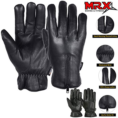 Mens Warm Winter Genuine Leather Gloves Motorcycle Driving Cold Weather Thermal Lining Glove (Black, Medium)