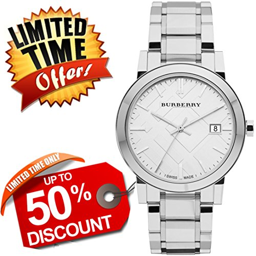 Burberry The City SWISS LUXURY Round Stainless Steel 38mm Silver Date Dial Unisex Men Women Watch BU9000