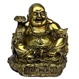 Fengshui Handmade Laughing Buddha Means Making Money Statue Figurine Home Decor Collectible Figurines Gift A little lower than 8 inches. (S)