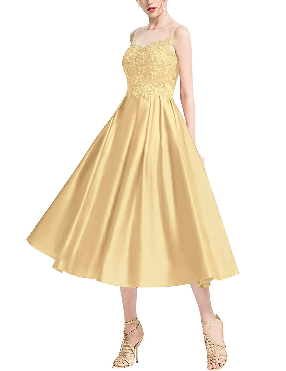 gold MorySong Women's Lace Illusion Bateau Neck Tea Length Cocktail Homecoming Dress