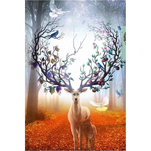 DIY 5D Diamond Painting by Number Kits, Full Drill Crystal Rhinestone Embroidery Pictures Arts Craft for Home Wall Decoration Elk 15.7 x 23.6 Inch