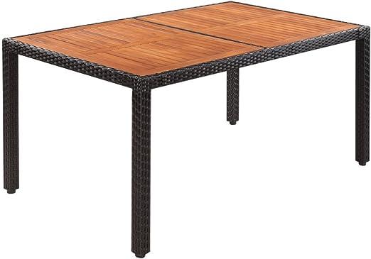 Festnight Table de jardin Rotin Dessus de table bois d\'acacia