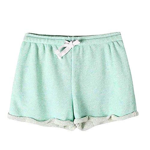 Women's Summer Shorts,LuluZanm Sale! Ladies Solid Drawstring Causal Sexy Home Yoga Hot Pants Fitness Short Pants Green