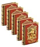 Basilur   Christmas Mini Tea Books Vol.5   Pyramid Black Tea Bags   100% Pure Ceylon Tea   Five Collectible Metal Tin Caddies   5 Luxury Leaf Pyramid Sachets Per Tin   Pack of 5