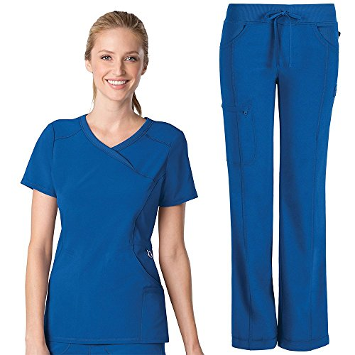 Infinity By Cherokee Women's Mock Wrap Scrub Top & Straight Leg Scrub Pant Set Medium Royal by Cherokee