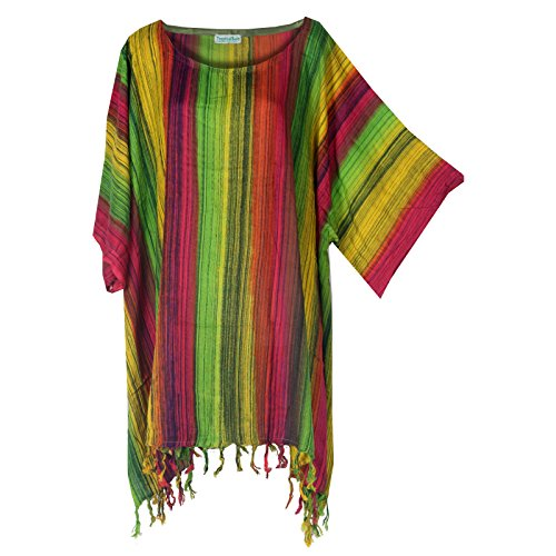Tropicalsale Women's Lovely Colourful Striped Kaftan Tunic Top Big Plus Size