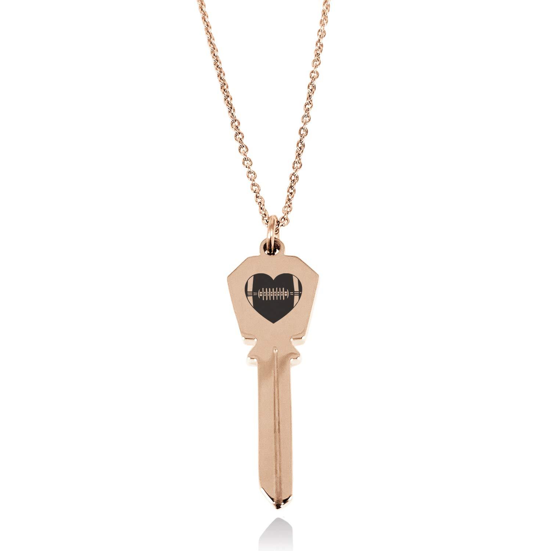 Tioneer Stainless Steel Love Football Heart Hexagon Head Key Charm Pendant Necklace