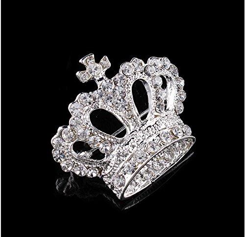 Shape Rhinestone Brooch - sea-junop Fashionable Luxurious Crown Shape Rhinestone Brooch Pin (Silver)