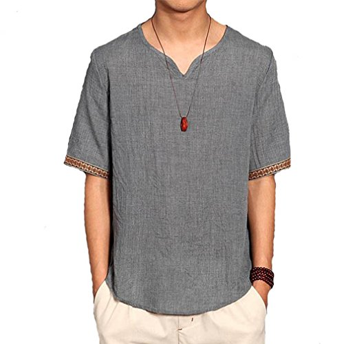 Léger T Lin Cikrilan Courtes T shir Gris Fit shirts Col Manches V Vintage Loose Hommes Casual Relaxed nggcPFqv