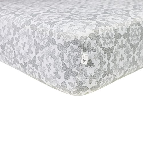 Burt's Bees Baby - Fitted Crib Sheet, Girls & Unisex 100% Organic Cotton Crib Sheet for Standard Crib and Toddler Mattresses (Grey Paisley Bee)