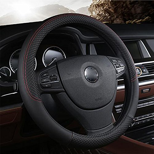 IUME Steering Wheel Covers Universal 15 inch Auto Car Steering Accessories Leather Breathable Anti Slip & Odor Free, Black with Red Lines