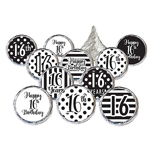 Black and White Sweet 16 Birthday Party Favor Stickers, 324 Count ()