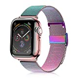 VATI Compatible with Apple Watch Band 42mm 44mm, Stainless Steel Mesh Loop Sport Wristband with Adjustable Magnetic Closure Replacement Band Compatible with iWatch Series 4/3/ 2/1, Colorful