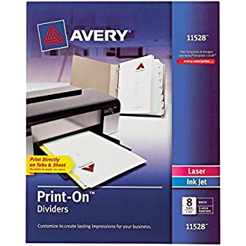 Amazon Avery Print On Dividers 8 Tabs White Laserink Jet