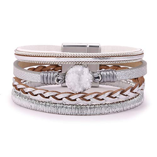 KSQS Boho Multilayer Leather Wrap Bracelets Gorgeous Handmade Braided Wrap Cuff Magnetic Buckle Casual Bangle for Women&Girl Gift (White Braided Bracelet Leather)