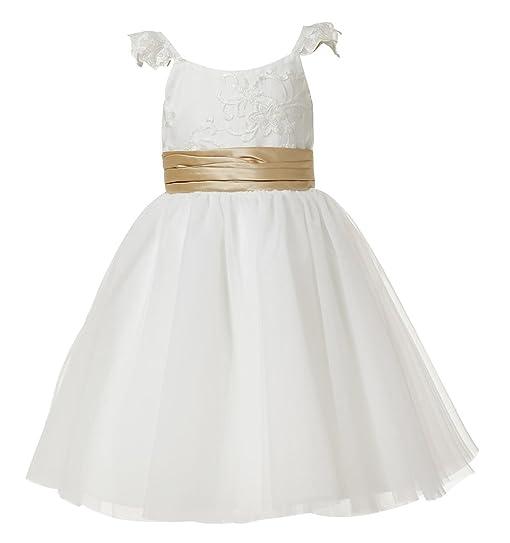 0a8dfa08aa3 Princhar Lace Flower Girl Dress Kids Girls Junior Bridesmaid Dresses Wedding  US 6M Ivory