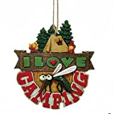 I Love Camping Mosquito and Tent in Woods with Campfire Christmas Ornament J8348