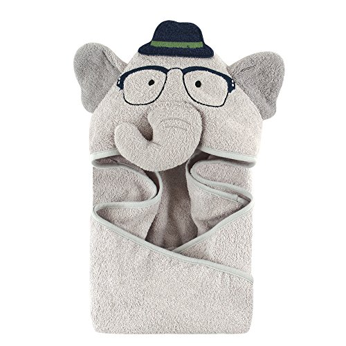 Hudson Baby Animal Face Hooded Towel, Boy Elephant