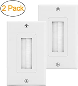 2-Pack Single Brush Wall Plate White Wall Mount Panel Cable Pass Through Insert for Wires,Speaker Wires,Cable Wall Plate for Coaxial Cables, HDTV HDMI Home Theater Systems