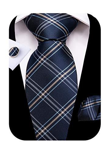 DiBanGu Navy Blue and Brown Plaid Tie for Men Silk Tie Pocket Square Cufflinks Tie Clip Set Wedding Business