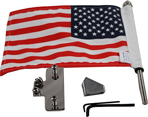 Pro Pad RFM-LPM15 Reversible Motorcycle License Plate Flag Mount Kit and 10